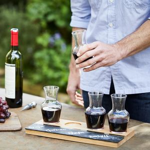 Personalised Oak, Brass And Slate Wine Flight - best wedding gifts