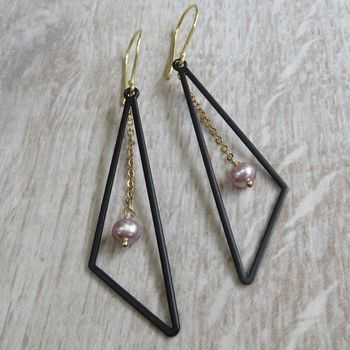 Black Brass Traingle And Gemstone Earrings