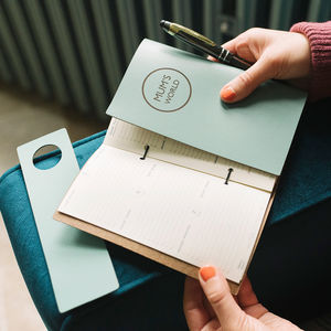 Modern 'World' Personalised Leather Diary Organiser