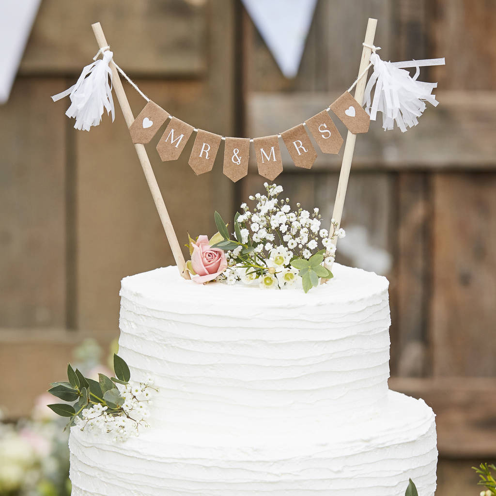 Wooden Mr And Mrs Wedding Cake Bunting Decoration By ...