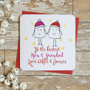 Bestest Grandparents Personalised Christmas Card - cards & wrap
