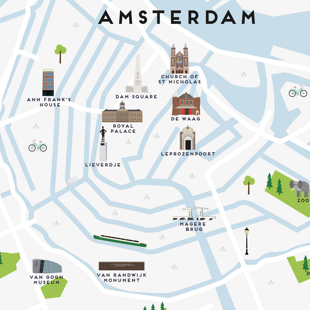 picture relating to Printable Map of Amsterdam identify Map Of Amsterdam Print