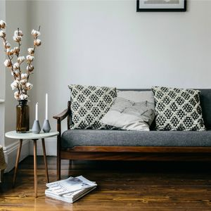 Eco Geometric Woven Tesselate Cushion Reduced