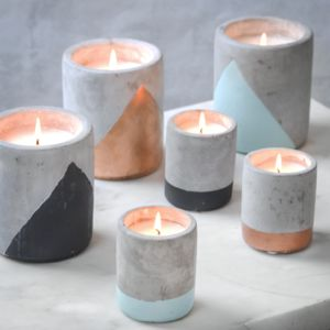 Concrete And Colour Candle Pots - room decorations