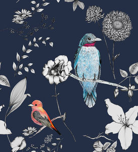 Birds And Flowers Bespoke Variation Wallpaper - home accessories