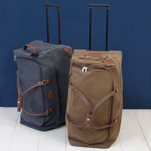 Suede Leather Effect Brown Or Blue Luggage Carry On Bag - bags & cases