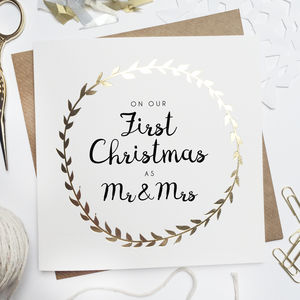 'Our First Christmas As Mr And Mrs' Foiled Card - new in christmas