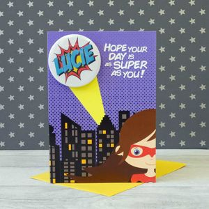 Personalised Superhero Birthday Card Girl - birthday cards