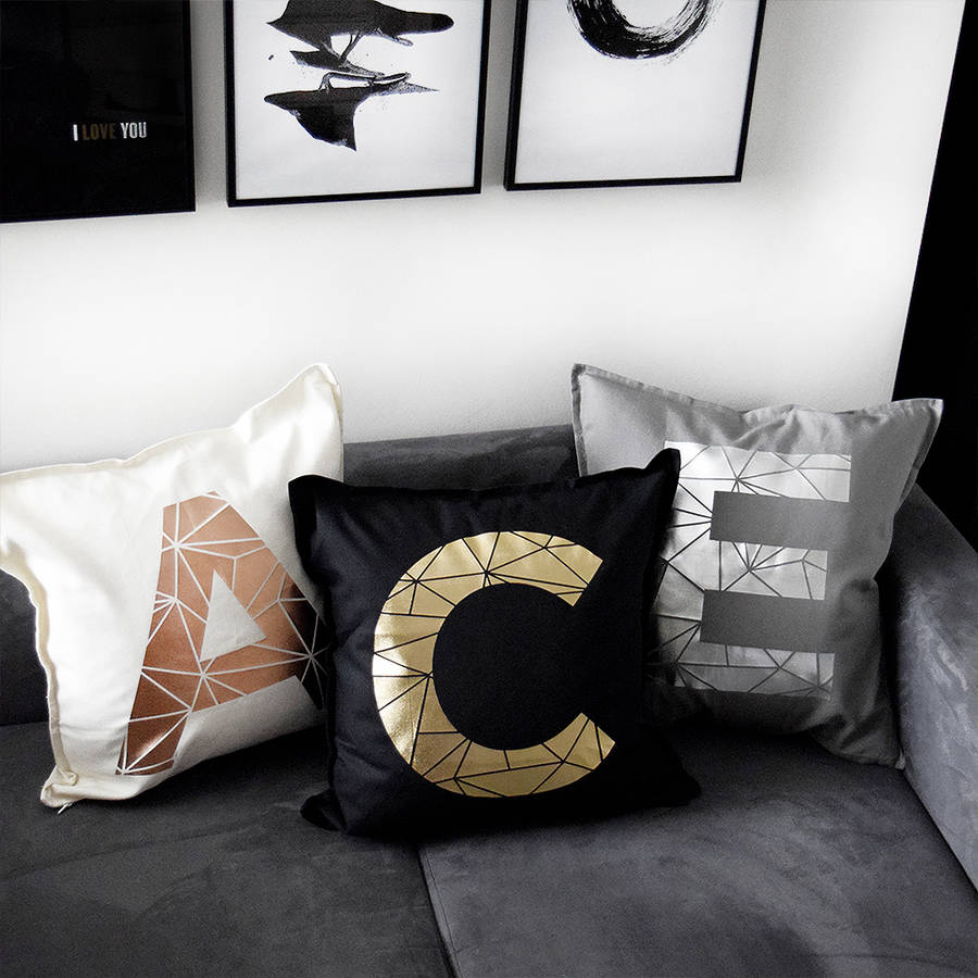 Personalised metallic initial letter cushion by pushka for Letter m cushion