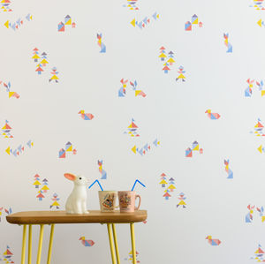 'Tangram' Geometric Children's Wallpaper - wallpaper