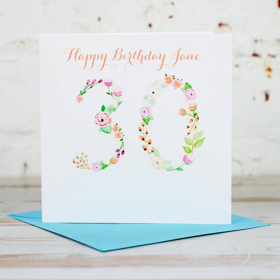 Personalised 30th Birthday Card By Yellowstone Art Boutique