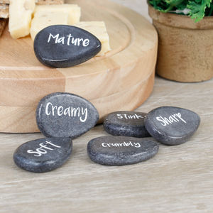 Set Of Six Marble Cheese Markers - cheese boards & knives