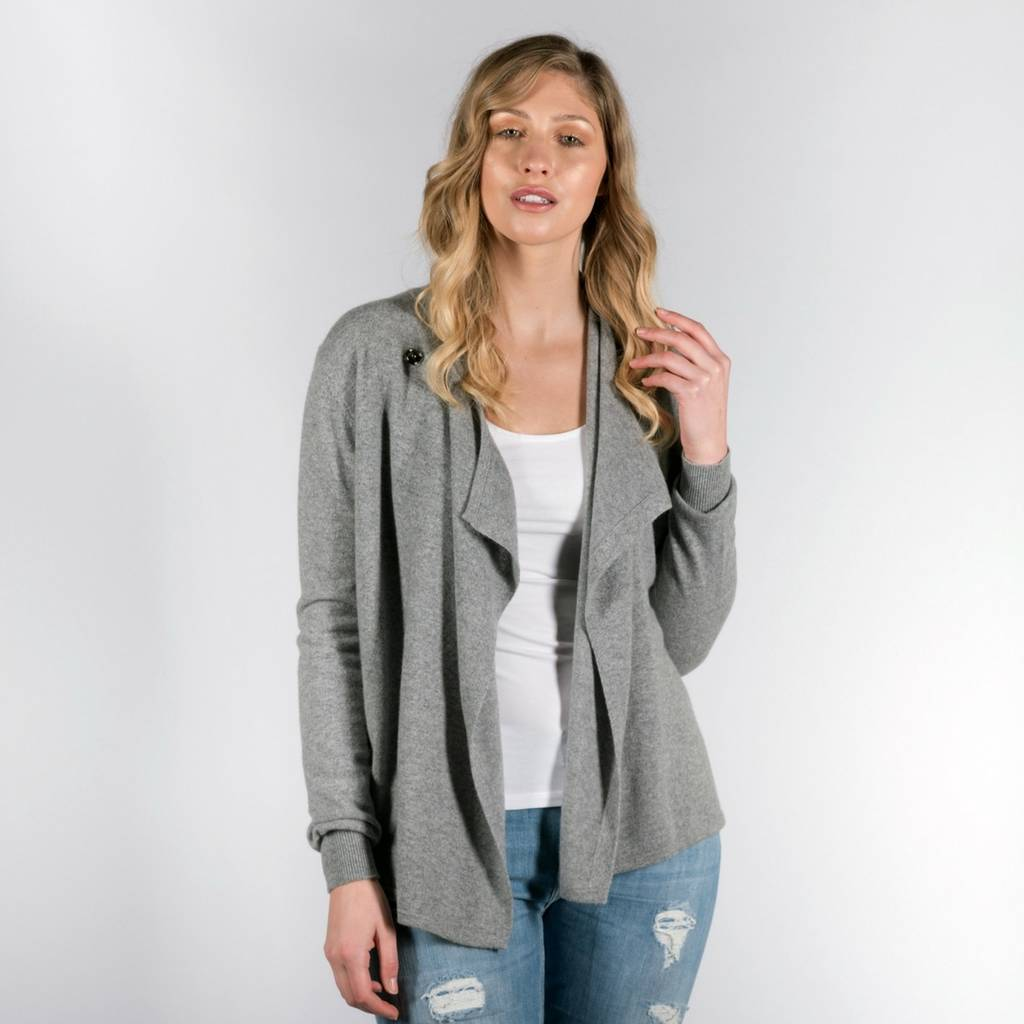 Grey 100% Cashmere Wrap Waterfall Cardigan With Button