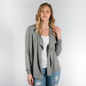 100% Cashmere Wrap Waterfall Cardigan With Button