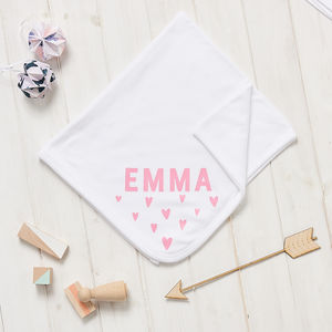 Personalised New Baby Scandi Heart Blanket - baby's room