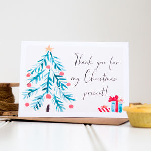 'Thank You For My Christmas Present' Card - thank you cards