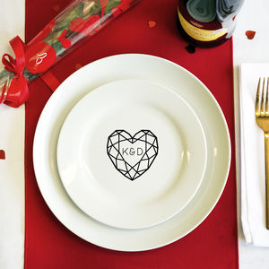 Jewelled Heart Personalised Double Initial Side Plate