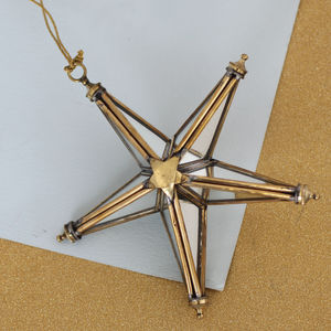 3D Brass Mirror Star Decoration - christmas decorations