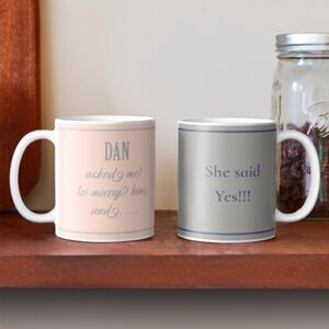 Personalised His And Hers Engagement Mugs