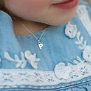 Girls Little Silver Initial Necklace