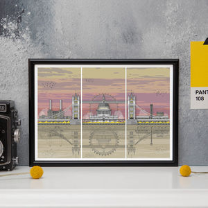 London Triptych Sunset Architectural Print