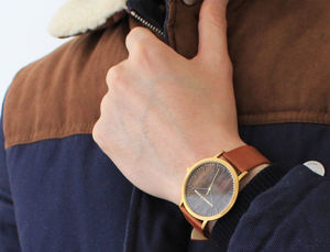 Classic Gold Vintage Leather Unisex Wood Watch - men's accessories