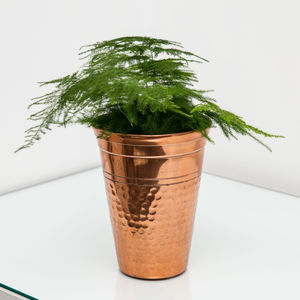 Medium Hammered Copper Vase, Planter, Plant Pot