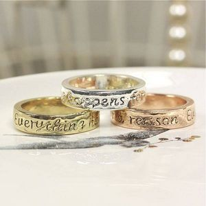 Everything Happens For A Reason Quote Ring Gold