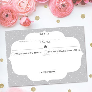 Pack Of 25 Wedding Advice Cards Frame Design - albums & guest books