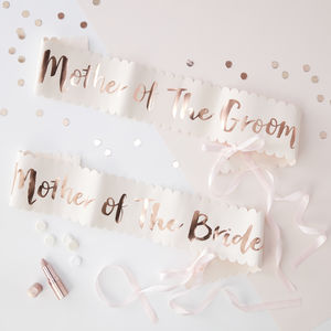 Two Pink And Rose Gold Mother Of Bride Groom Hen Sashes