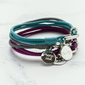 Soft Leather Bracelet With Personalised Charm - jewellery