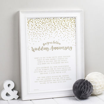 Golden Wedding Anniversary Poem Print