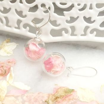 Sterling Silver Glass And Pink Flower Petal Earrings