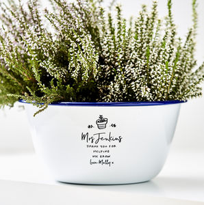 Enamel Planter Personalised Teacher Gift - pots & planters