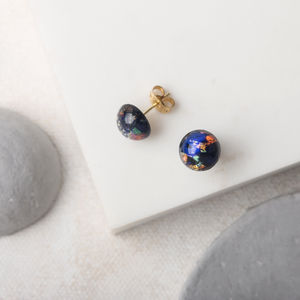 Black And Blue Foil Glass Studs