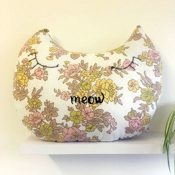 Personalised Floral Cat Cushion