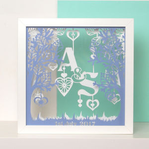 Personalised Tree Of Hearts Initial Papercut Art - mixed media & collage
