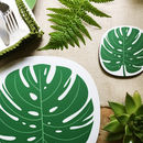 Monstera Leaf Design Placemat And Coaster