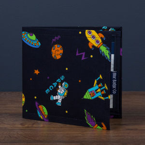 Blue Badge Holder In Spaceman Ufo Print - boys' bags & wallets