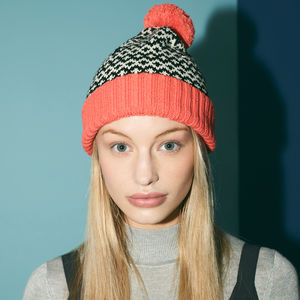 Coral Graphic Pompom Beanie By Miss Pompom - hats & gloves