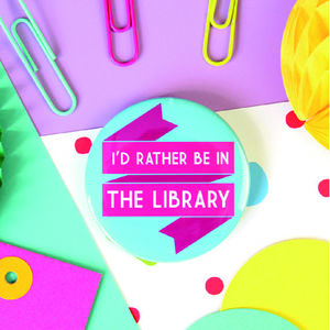 Library Book Lovers Brooch, Keyring Or Pocket Mirror