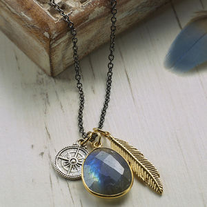 Labradorite And Feather Charm Necklace