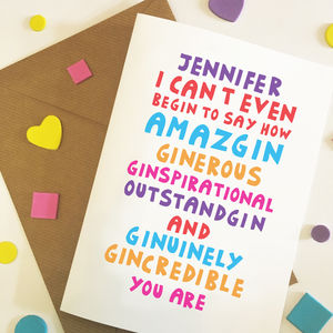 Personalised Funny Gin Celebration Card