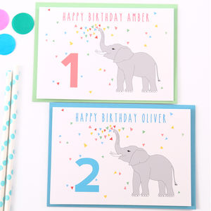 Elephant Personalised Child Birthday Card