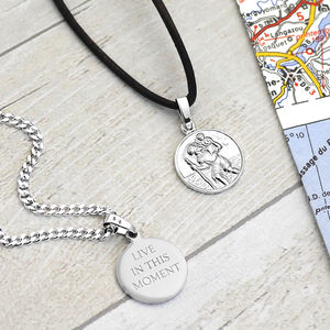 St Christopher Medal Necklace - winter sale