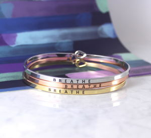 Breathe Inspirational Message Cuff Bracelet