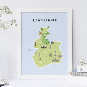 Map Of Lancashire Print - posters & prints