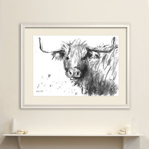 Highland Cow Original Charcoal Drawing - animals & wildlife