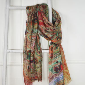 Alexandre Multicolour Marble Print Wool Silk Scarf - scarves