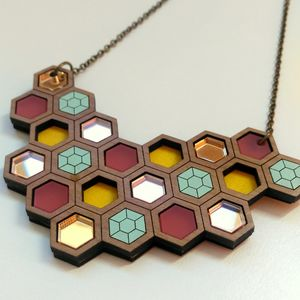 'Hex' Geometric Statement Necklace Large - necklaces & pendants